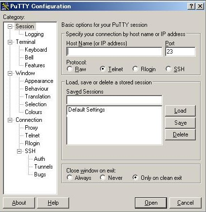 Putty Configuration-Session