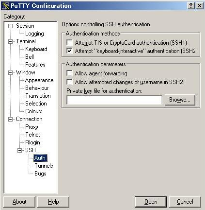 PuTTY Configuration-SSH-Auth